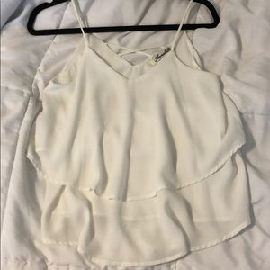 Two Tiered Criss Cross White Tank Top Size S
